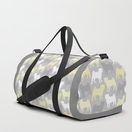 Grey and Yellow Pugs Pattern Duffle Bag
