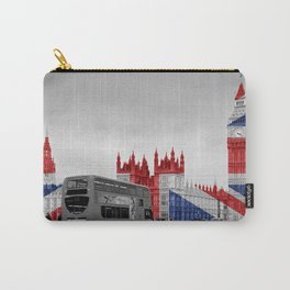 Big Ben, London Bus and Union Jack Flag Carry-All Pouch