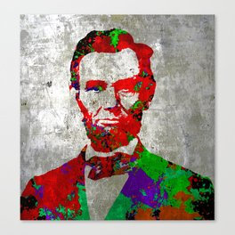 Abraham Lincoln Silver Print Pop Art Canvas Print
