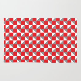 Red Grey and White Geometric Pattern Rug