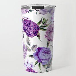 Elegant Girly Violet Lilac Purple Flowers Travel Mug