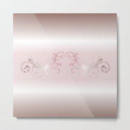 Dusky Pink Ornament Stripes Metal Print
