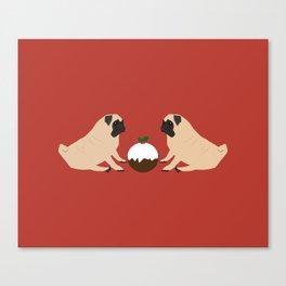 Christmas Pudding and Pugs Canvas Print