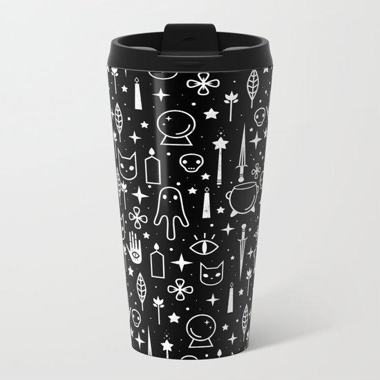 Spirit Symbols Black Metal Travel Mug