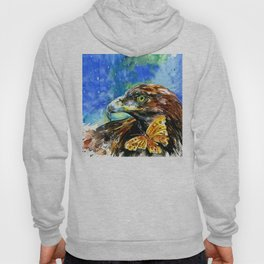 Golden Eagle And Butterfly by Kathy Morton Stanion Hoody