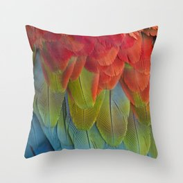 Macaw Feathers. Throw Pillow