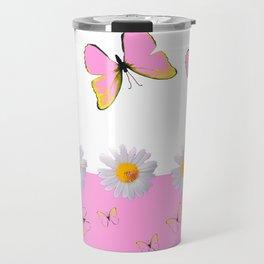MODERN ART PINK BUTTERFLIES & WHITE DAISIES Travel Mug