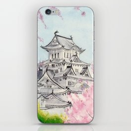 Himeji Castle , Art Watercolor Painting print by Suisai Genki , cherry blossom , Japanese Castle iPhone Skin