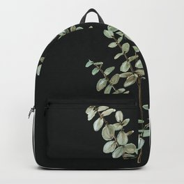 Baby Blue Eucalyptus Watercolor Painting on Charcoal Backpack
