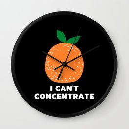 I can't concentrate - funny orange print Wall Clock