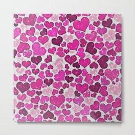 Sparkling Hearts,pink Metal Print