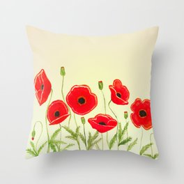 Watercolor poppies Throw Pillow