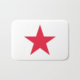 Single red star on white Bath Mat