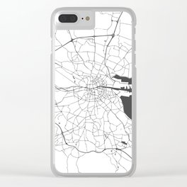 White on Grey Dublin Street Map Clear iPhone Case