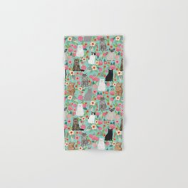 Cats floral mixed breed cat art cute gifts for cat ladies cat lovers pet art Hand & Bath Towel