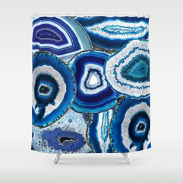 Agate Slices Art, Blue Agate, Mid Century Art, Gemstones Shower Curtain
