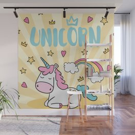 Background with stars and hearts with hand drawn unicorn Wall Mural