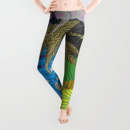 Rainbow Dancing Leaves Leggings