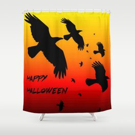 Happy Halloween Murder of Crows  Shower Curtain