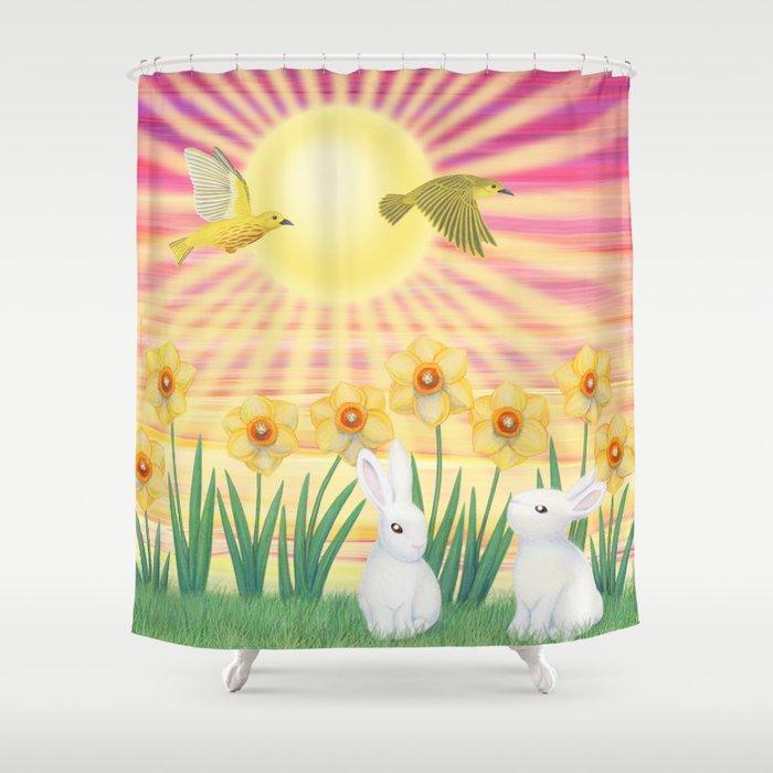 bunnies, daffodils, yellow warblers, & sunshine Shower Curtain