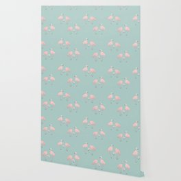 Flamingo Love Blue Wallpaper