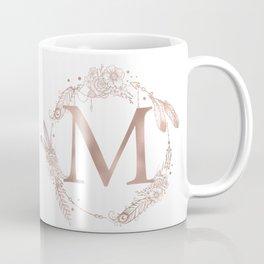 Letter M Rose Gold Pink Initial Monogram Coffee Mug