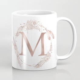 Letter M Rose Gold Pink Initial Monogram Coffee Mug