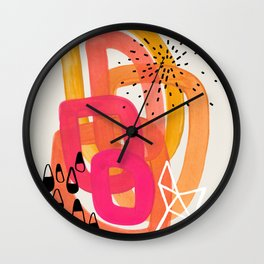 Mid Century Modern Abstract Colorful Art Ombre Magenta Yellow Circles Raindrops Geometric Pattern Wall Clock