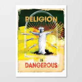 Religion is Dangerous, propaganda stencil street art Canvas Print
