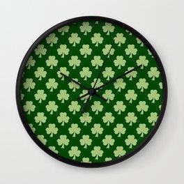 Shamrock Clover Polka dots St. Patrick's Day green pattern Wall Clock