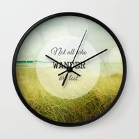 wander Wall Clocks featuring Wander by Olivia Joy StClaire
