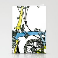 brompton Stationery Cards featuring My brompton standing up by Swasky