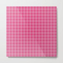 Fandango pink - pink color - White Lines Grid Pattern Metal Print