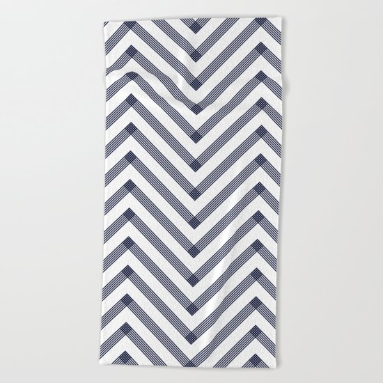 Chevron pattern - dark blue on white Beach Towel