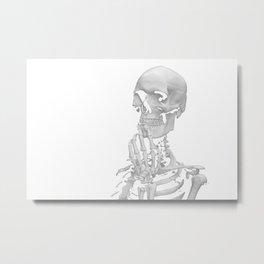 Thinking Skeleton (Black and White) Metal Print