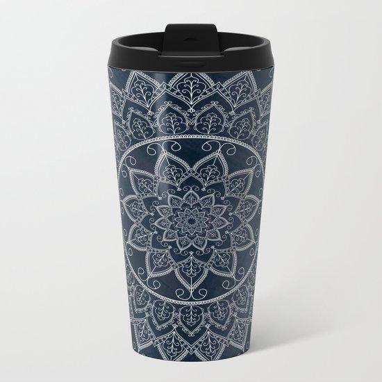 Blue Textured Lace Mandala Metal Travel Mug