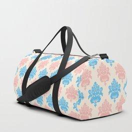 Coral blue ivory vintage chic floral damask pattern Duffle Bag