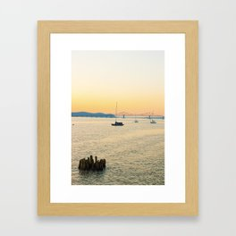 New York Sunsets in a Sail Boat Framed Art Print