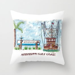 Mississippi Gulf Coast Throw Pillow