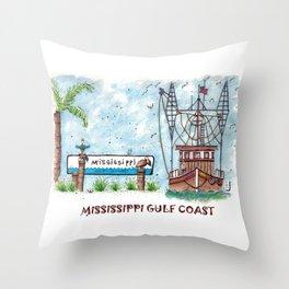 Mississippi Gulf Coast Throw Pillow