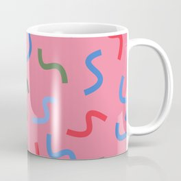 Colourful Squiggly Lines - Pink Coffee Mug