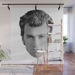 Black and White Distressed Clint Eastwood Wall Mural