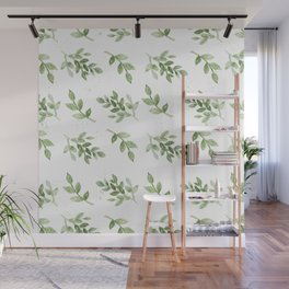 Forest green white hand painted botanical foliage Wall Mural