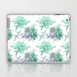 Succulents Mint Green Lavender Lilac Violet Pattern Laptop & iPad Skin