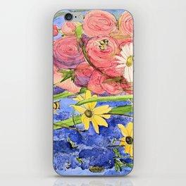 Cottage Garden Delphinium and Hollyhocks Watercolor iPhone Skin