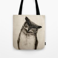 dude Tote Bags featuring Owl Sketch by Isaiah K. Stephens