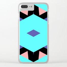 CVPA20098 Benny Frank Geometric Diamond Cyan Blue Pink Clear iPhone Case