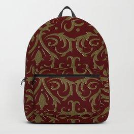 golden floral on the dark red background Backpack