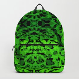 Mirror ornament of green spots and velvet blots on black. Backpack