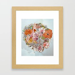 Swimmer on the cliff of flowers Framed Art Print